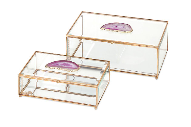Home Accents Glass and Agate Boxes (Set of 2), , large