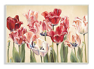 Stupell Industries  Red and White Blooming Florals Charming Tulips, 13 x 19, Wood Wall Art, Yellow, large