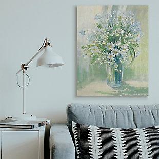 Stupell Industries  Sunlit Bouquet of Daisies Blue Green Pastels, 36 x 48, Canvas Wall Art, Green, rollover