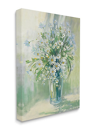 Stupell Industries  Sunlit Bouquet of Daisies Blue Green Pastels, 36 x 48, Canvas Wall Art, Green, large