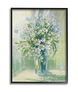 Stupell Industries  Sunlit Bouquet of Daisies Blue Green Pastels, 24 x 30, Framed Wall Art, Green, large