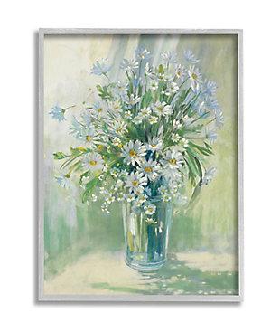 Stupell Industries  Sunlit Bouquet of Daisies Blue Green Pastels, 16 x 20, Framed Wall Art, Green, large
