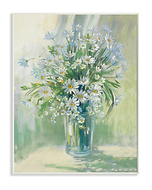 Stupell Industries  Sunlit Bouquet of Daisies Blue Green Pastels, 13 x 19, Wood Wall Art, Green, large