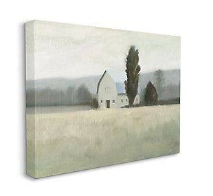 Stupell Industries  Farmside Landscape White Barn Green Meadow, 36 x 48, Canvas Wall Art, Green, large