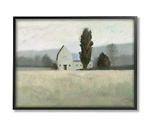 Stupell Industries  Farmside Landscape White Barn Green Meadow, 24 x 30, Framed Wall Art, Green, large