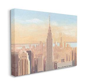 Stupell Industries  Manhattan Cityscape at Dawn Urban Architecture, 36 x 48, Canvas Wall Art, Orange, large