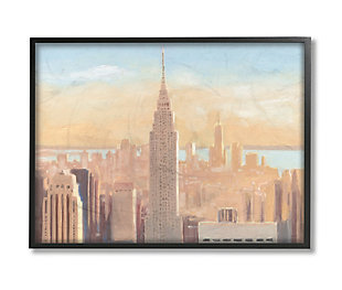 Stupell Industries Manhattan Cityscape At Dawn Urban Architecture, 24 X 30, Framed Wall Art, Orange, large