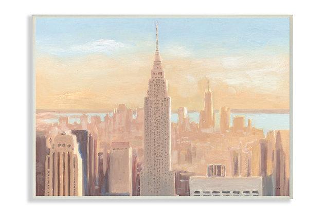Stupell Industries  Manhattan Cityscape at Dawn Urban Architecture, 13 x 19, Wood Wall Art, Orange, large
