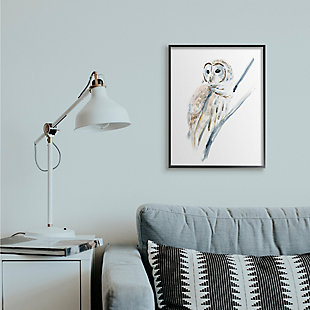 Stupell Industries Soft Arctic Owl Perched On Minimal Branch, 24 X 30, Framed Wall Art, White, rollover