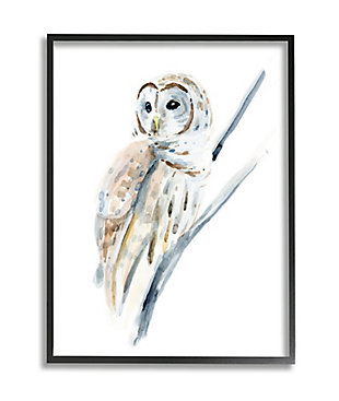 Stupell Industries Soft Arctic Owl Perched On Minimal Branch, 24 X 30, Framed Wall Art, White, large