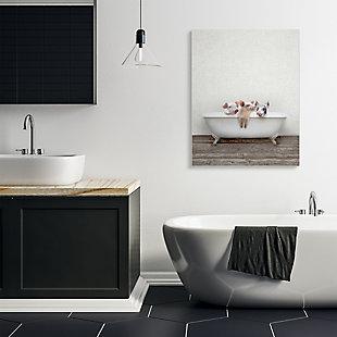 Stupell Industries  Three Little Piglets in Rustic Claw Bath , 36 x 48, Canvas Wall Art, Beige, rollover