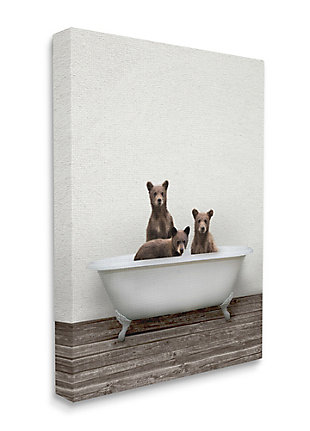 Stupell Industries  Three Bear Cubs in Rustic Style Tub Vintage Bath, 36 x 48, Canvas Wall Art, Beige, large