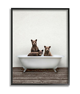 Stupell Industries  Three Bear Cubs in Rustic Style Tub Vintage Bath, 24 x 30, Framed Wall Art, Beige, large