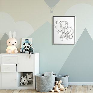 Stupell Industries  Elephant Family Holding Trunks Minimal Linework, 24 x 30, Framed Wall Art, White, rollover