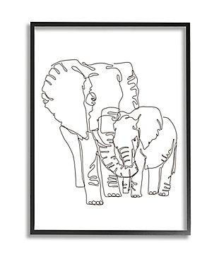 Stupell Industries  Elephant Family Holding Trunks Minimal Linework, 24 x 30, Framed Wall Art, White, large