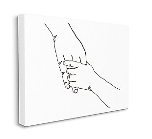 Stupell Industries  Family Holding Hands Pose Minimal Linework, 36 x 48, Canvas Wall Art, White, large