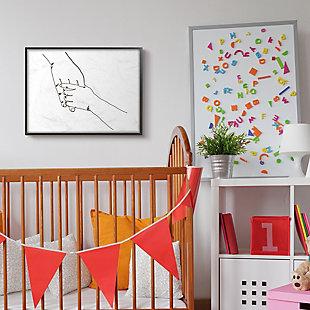 Stupell Industries Family Holding Hands Pose Minimal Linework, 24 X 30, Framed Wall Art, White, rollover