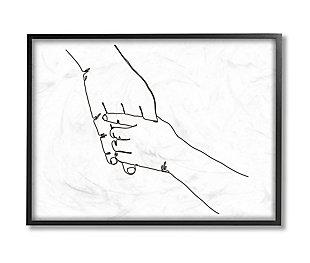 Stupell Industries Family Holding Hands Pose Minimal Linework, 24 X 30, Framed Wall Art, White, large