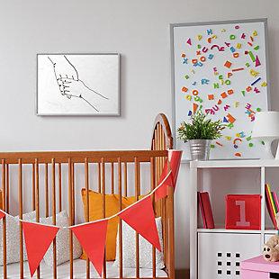 Stupell Industries Family Holding Hands Pose Minimal Linework, 16 X 20, Framed Wall Art, White, rollover