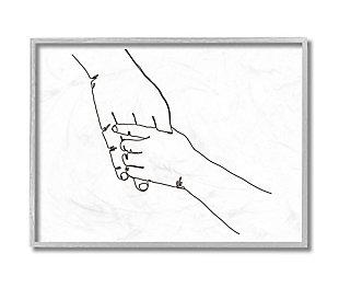 Stupell Industries Family Holding Hands Pose Minimal Linework, 16 X 20, Framed Wall Art, White, large