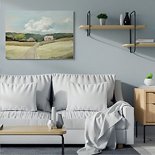 Stupell Industries  Road Leading Home Countryside Mountain Landscape , 36 x 48, Canvas Wall Art, Green, rollover