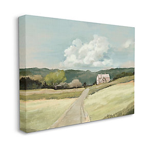 Stupell Industries  Road Leading Home Countryside Mountain Landscape , 36 x 48, Canvas Wall Art, Green, large