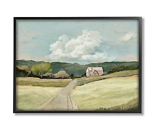 Stupell Industries  Road Leading Home Countryside Mountain Landscape , 24 x 30, Framed Wall Art, Green, large