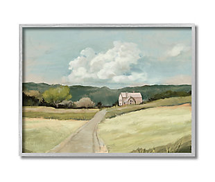 Stupell Industries  Road Leading Home Countryside Mountain Landscape , 16 x 20, Framed Wall Art, Green, large