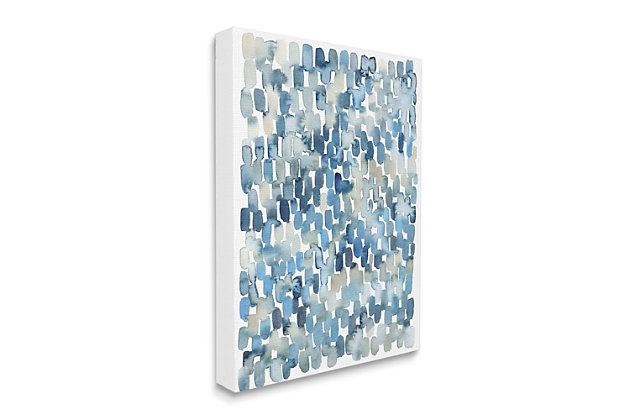 Stupell Industries  Coastal Tile Abstract Soft Blue Beige Shapes, 36 x 48, Canvas Wall Art, Blue, large