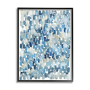 Stupell Industries  Coastal Tile Abstract Soft Blue Beige Shapes, 24 x 30, Framed Wall Art, Blue, large