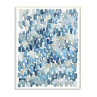 Stupell Industries  Coastal Tile Abstract Soft Blue Beige Shapes, 13 x 19, Wood Wall Art, Blue, large