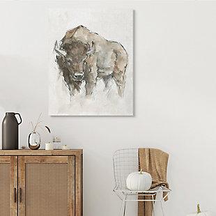 Stupell Industries  Western American Buffalo Brown Country Animal, 36 x 48, Canvas Wall Art, Brown, rollover