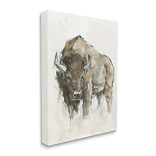 Stupell Industries  Western American Buffalo Brown Country Animal, 36 x 48, Canvas Wall Art, Brown, large
