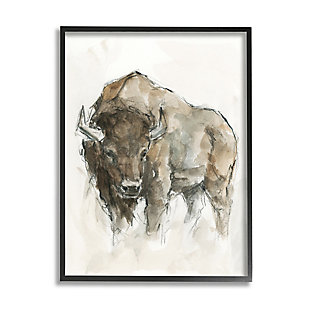 Stupell Industries  Western American Buffalo Brown Country Animal, 24 x 30, Framed Wall Art, Brown, large