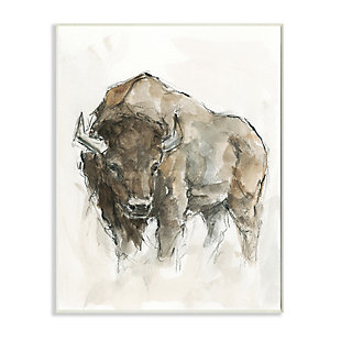 Stupell Industries  Western American Buffalo Brown Country Animal, 13 x 19, Wood Wall Art, Brown, large