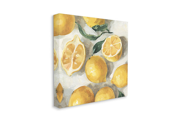 Stupell Industries Citrus Fruits Sliced Lemon Pile Over White, 36 X 36, Canvas Wall Art, Yellow, large