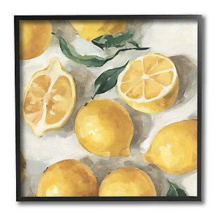 Stupell Industries  Citrus Fruits Sliced Lemon Pile Over White, 12 x 12, Framed Wall Art, , large