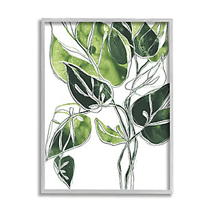 Stupell Industries  Intricate Palm Vines Unique Green Leaves, 16 x 20, Framed Wall Art, Green, large