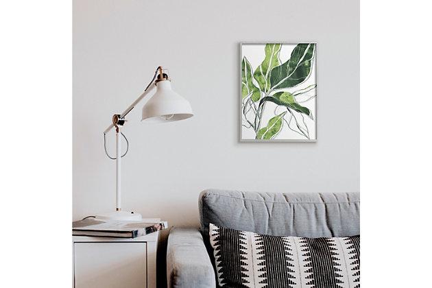 Stupell Industries  Expressive Palm Linework Green Pop Detail, 16 x 20, Framed Wall Art, Green, large