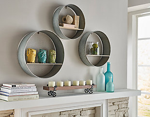 Home Accents Round Wall Shelves (Set of 3), , rollover