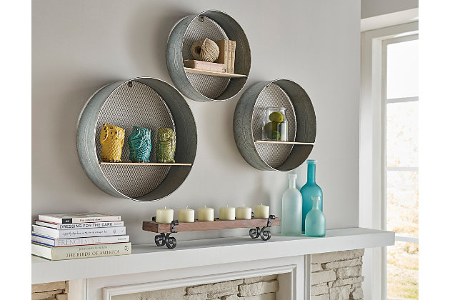 Home Accents Round Wall Shelves (Set of 3), , large