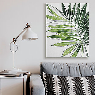 Stupell Industries  Tropical Green Plant Expressive Palm Linework, 36 x 48, Canvas Wall Art, Green, rollover