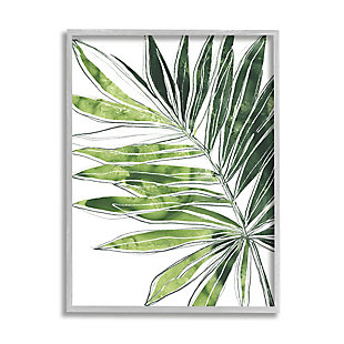 Stupell Industries  Tropical Green Plant Expressive Palm Linework, 16 x 20, Framed Wall Art, Green, large