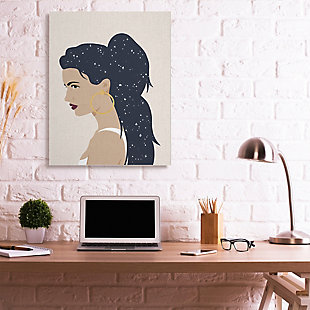 Stupell Industries  Stars in Hair Glam Female Portrait Constellations, 36 x 48, Canvas Wall Art, Brown, rollover