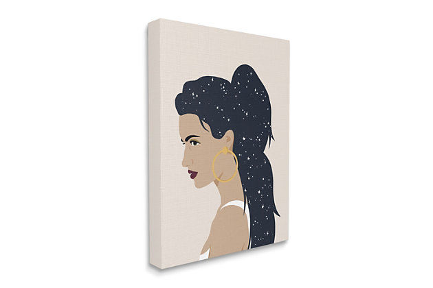 Stupell Industries  Stars in Hair Glam Female Portrait Constellations, 36 x 48, Canvas Wall Art, Brown, large