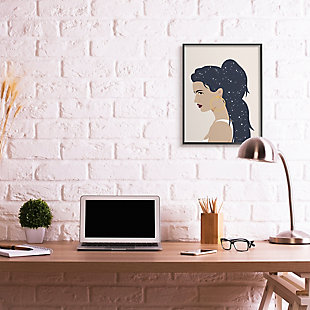 Stupell Industries  Stars in Hair Glam Female Portrait Constellations, 24 x 30, Framed Wall Art, Brown, rollover