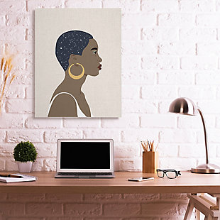 Stupell Industries  Night Sky Constellation Hairstyle Glam Female Portrait, 36 x 48, Canvas Wall Art, Brown, rollover