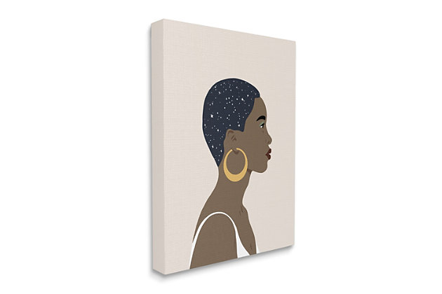 Stupell Industries  Night Sky Constellation Hairstyle Glam Female Portrait, 36 x 48, Canvas Wall Art, Brown, large