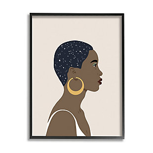 Stupell Industries Night Sky Constellation Hairstyle Glam Female Portrait, 24 X 30, Framed Wall Art, Brown, large
