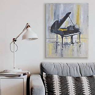 Stupell Industries  Distressed Grand Piano Instrument Blue Gold, 36 x 48, Canvas Wall Art, Blue, rollover